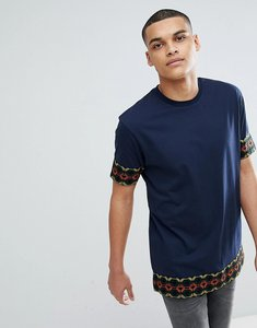 Read more about Asos design relaxed longline t-shirt with aztec taping in navy - navy