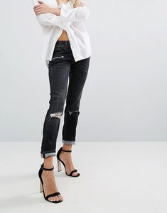 Read more about Replay super skinny mid rise biker jeans with zips and rips - washed black