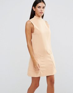 Read more about Ax paris high neck shift dress with pockets - peach