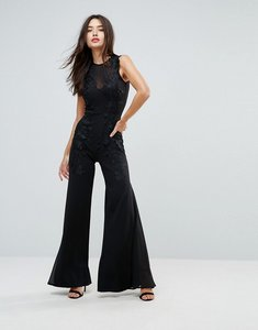 Read more about Club l wide leg embroidered jumpsuit - black
