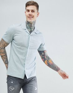 Read more about Asos design stretch slim cotton linen shirt with revere collar in pale green - blue