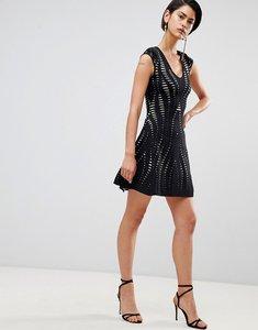 Read more about Forever unique textured a line dress - black