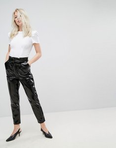 Read more about Miss selfridge paper bag high waisted vinyl trouser - black