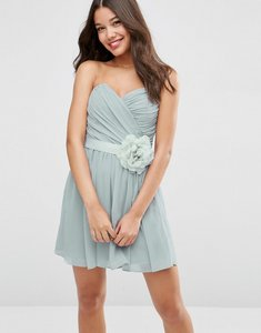 Read more about Asos wedding chiffon bandeau mini dress with detachable corsage - silver
