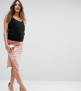Read more about Asos maternity over the bump velvet midi skirt with thigh split - pale pink