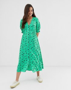 Read more about Asos design button through midi tea dress with shirred waist in floral print