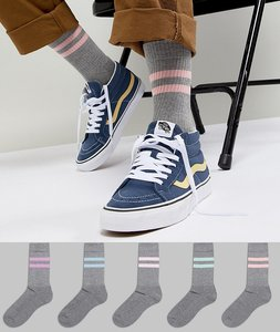Read more about Asos design sports socks in grey with washed out stripes 5 pack - grey