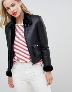 Read more about Asos design borg crop aviator jacket - black
