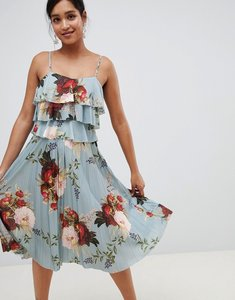 Read more about Asos design floral tiered pleated midi dress - multi