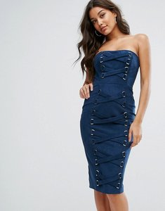 Read more about Misha collection bandeau pencil dress with corset lace up detail - navy