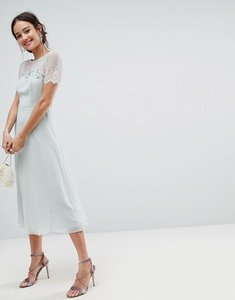 Read more about Asos lace insert midi dress with floral embellished trim - mint