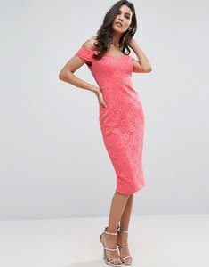 Read more about Asos lace sweetheart bardot midi bodycon dress - coral
