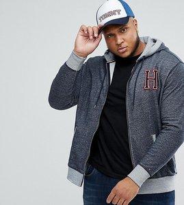 Read more about Tommy hilfiger plus full zip hoodie h applique in dark blue marl - dark blue hthr