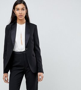 Read more about Fashion union tall tuxedo blazer - black