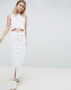 Read more about Dr denim button through denim skirt - white