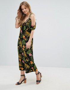 Read more about Vero moda halterneck cold shoulder tropical print dress - black