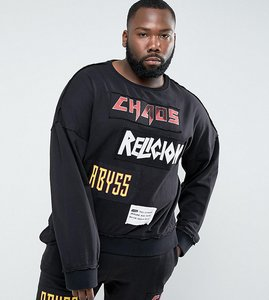 Read more about Religion plus sweatshirt with patches - black
