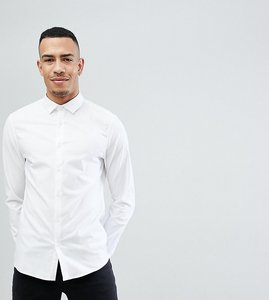 Read more about Asos tall smart slim fit oxford shirt with double cuff - white