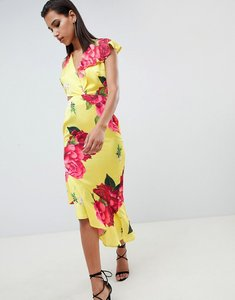 Read more about Asos design plunge and cut out midi dress in bright floral print - floral print