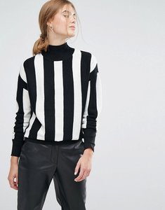 Read more about Moss copenhagen high neck jumper in mono stripe - mono