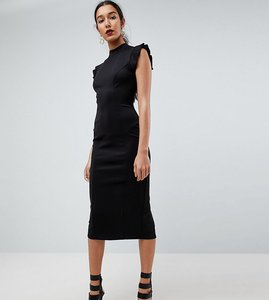 Read more about Asos tall midi high neck pencil dress with cut out back and shoulder detail - black
