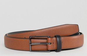 Read more about Asos plus smart slim belt in tan faux leather and black contrast keeper - tan