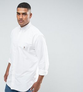 Read more about Polo ralph lauren big tall oxford shirt player logo button down in white - white