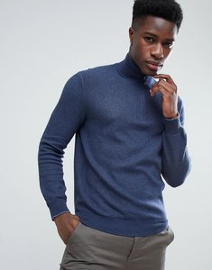Read more about Polo ralph lauren texture pima cotton knit jumper half zip polo player in navy marl - navy heather