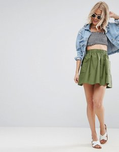 Read more about Asos mini skater skirt in cotton poplin with pockets - khaki