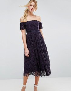 Read more about Asos off the shoulder lace prom midi dress - navy