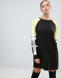 Read more about Missguided colour block t-shirt dress in black - black