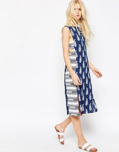 Read more about Asos midi dress in mixed print with tab side detail - multi