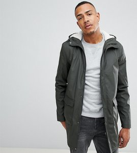 Read more about French connection tall shine fishtail hooded mac with borg lining - green