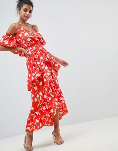 Read more about Asos design senorita floral print tiered frill halter maxi beach dress - senorita floral