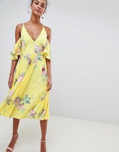 Read more about Asos design pleated plunge midi floral print dress - floral print
