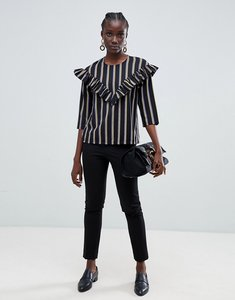 Read more about Selected eda flounce stripe top - black stripe