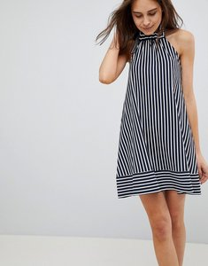 Read more about Asos halter swing sundress in cut about stripe - navy white