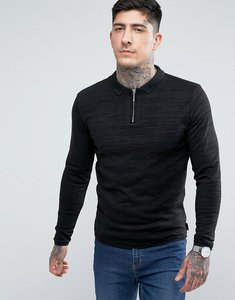 Read more about Bellfield zip neck polo jumper - black