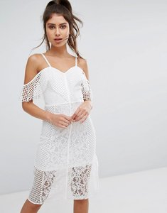 Read more about Prettylittlething lace cold shoulder midi dress - white