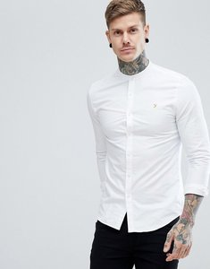 Read more about Farah brewer slim fit grandad collar oxford shirt in white - 104 white