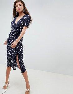 Read more about Asos design midi wrap plisse dress in polka dot - polka dot