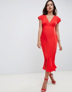 Read more about Asos design button through pephem midi tea dress with bow back - red