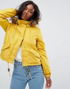 Read more about Noisy may short parka jacket - yellow