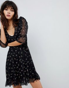 Read more about Asos mini mesh wrap dress with floral ditsy print - multi