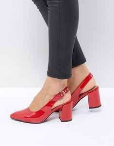 Read more about London rebel high vamp sling back heel shoe - red wrinkle pat