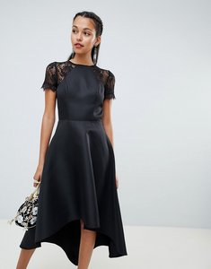 Read more about Chi chi london high low hem midi dress with lace sleeves in black - black