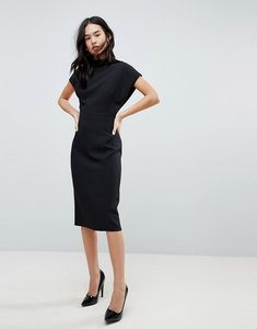 Read more about Asos design short sleeve midi pencil dress with open back - black