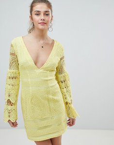 Read more about Prettylittlething v neck lace mini dress - yellow