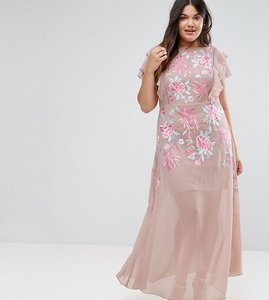 Read more about Frock and frill plus rose embellished maxi dress with ruffle sleeve - pink