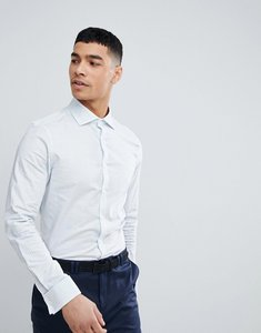 Read more about Asos design smart stretch slim royal oxford stripe shirt with cutaway collar and double cuffs - blue